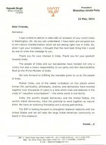 Rajnath Singh - Letter 1